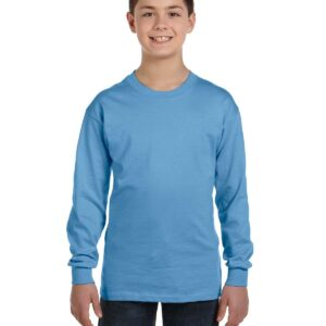 gildan g540b youth long sleeve custom shirt Carolina Blue