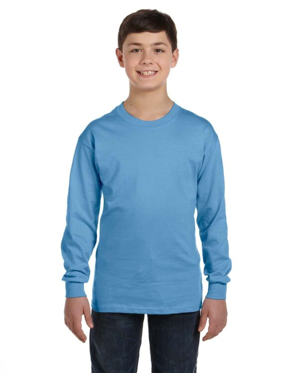 gildan g540b youth long sleeve custom shirt Carolina Blue