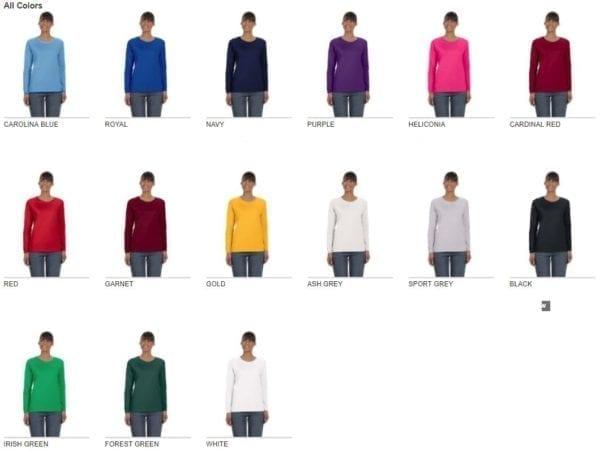 gildan g540l ladies long sleeve shirt cotton