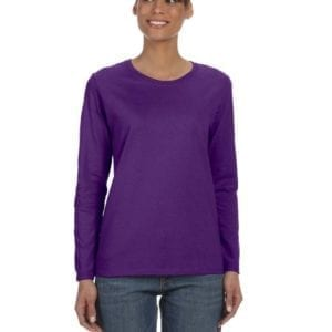gildan g540l ladies long sleeve shirt purple