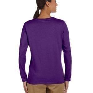 gildan g540l ladies long sleeve shirt purple back