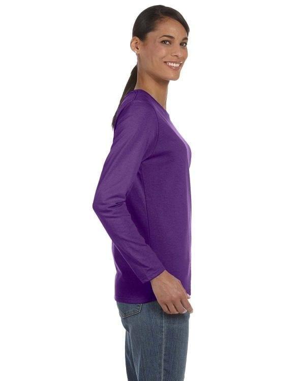 gildan g540l ladies long sleeve shirt purple side