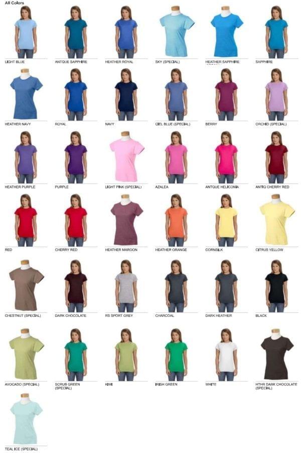 gildan g640l custom ladies softstyle shirt bulk custom shirts colors