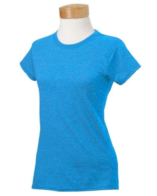 gildan g640l custom ladies softstyle shirt bulk custom shirts heather sapphire