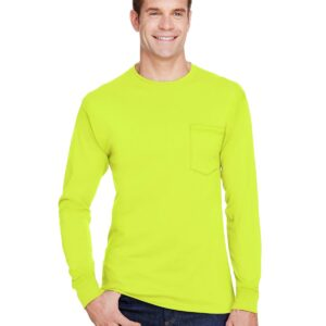 hanes w120 long sleeve pocket shirt uv protection safety green