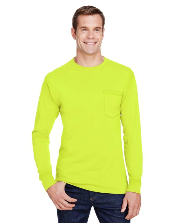 hanes w120 long sleeve pocket shirt uv protection safety green