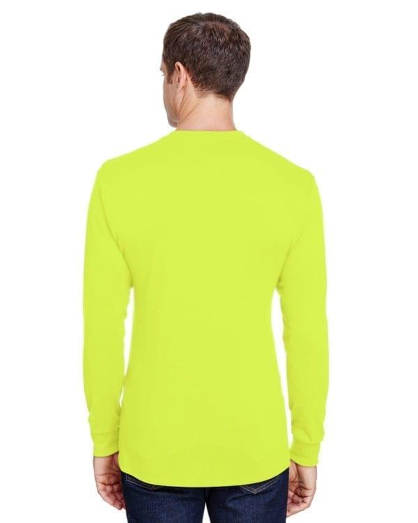 hanes w120 long sleeve pocket shirt uv protection safety green back