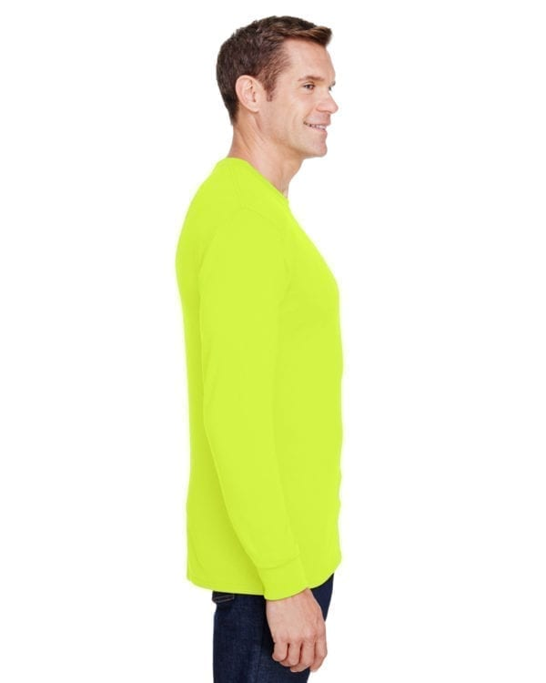hanes w120 long sleeve pocket shirt uv protection safety green side