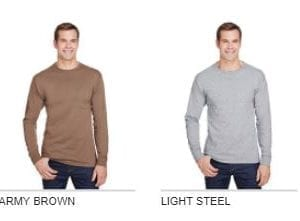 hanes w120 long sleeve pocket shirt with uv protection colors