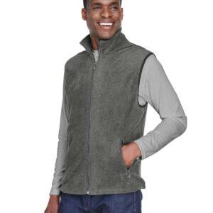 harriton m985 custom fleece vest bulk custom shirts charcoal side