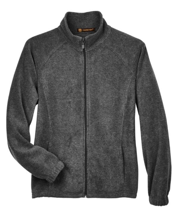 harriton m990w custom ladies 8 oz full-zip charcoal
