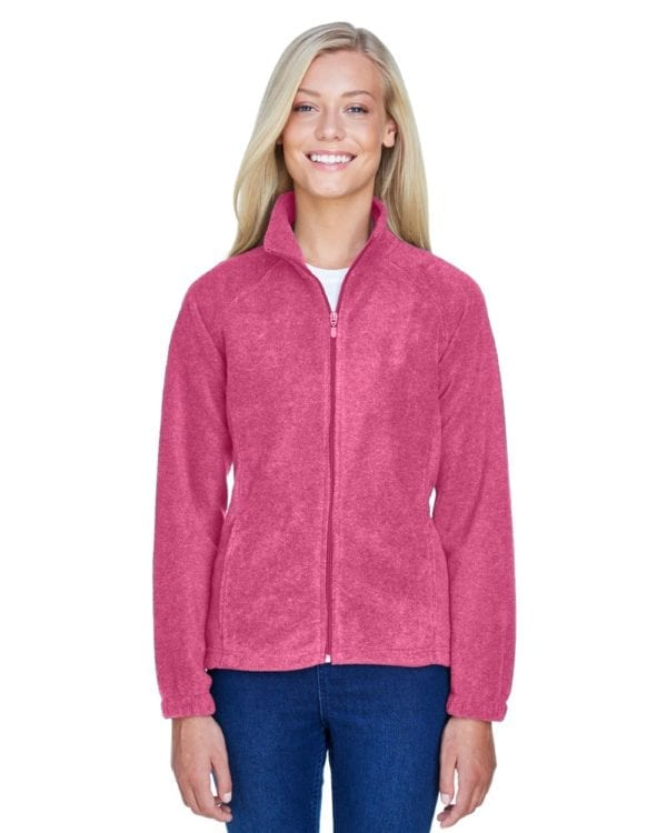 harriton m990w custom ladies 8 oz full-zip charity pink