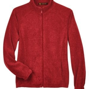 harriton m990w custom ladies 8 oz full-zip red
