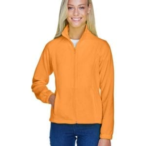 harriton m990w custom ladies 8 oz full-zip safety orange