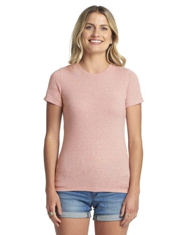 next level 6710 custom ladies triblend crew shirt bulk custom shirts desert pink