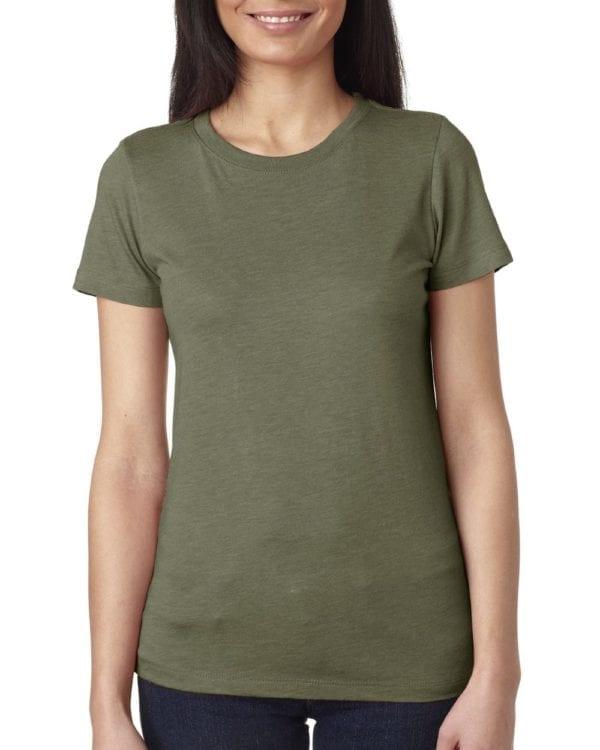 next level 6710 custom ladies triblend crew shirt bulk custom shirts military green