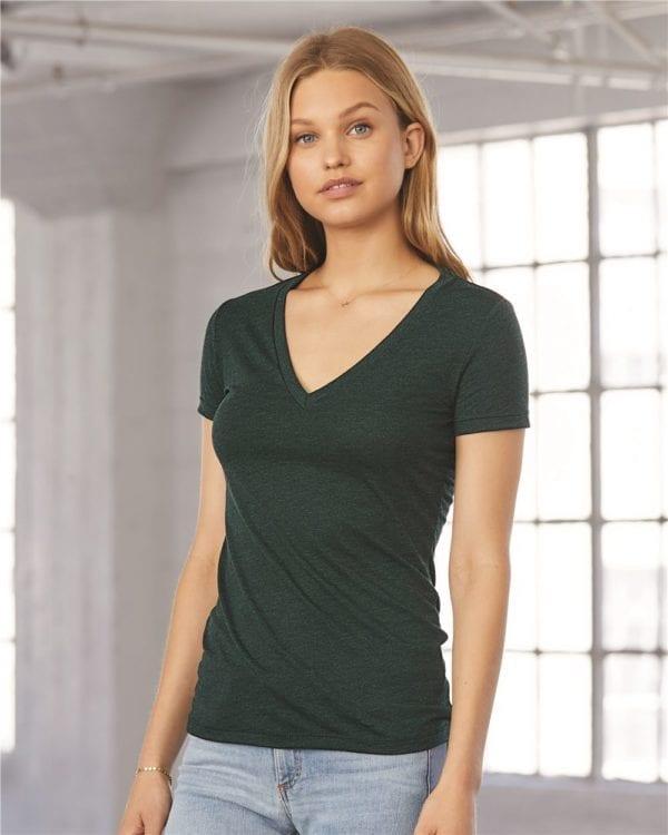 bulk custom shirts bella canvas 8435 custom woman's ladies' triblend deep vneck shirt