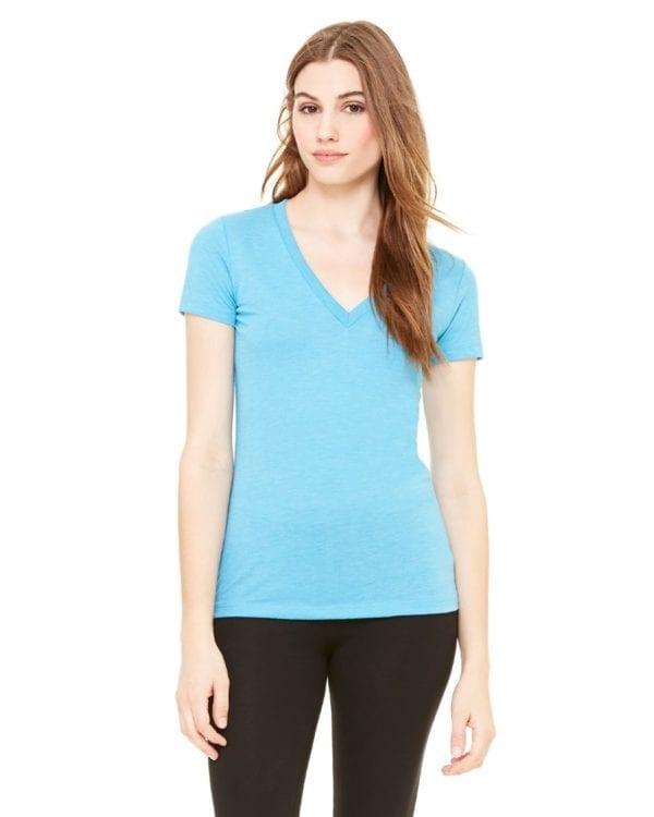 bulk custom shirts bella canvas 8435 custom woman's ladies' triblend deep vneck shirt aqua triblend