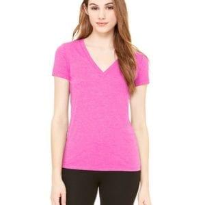 bulk custom shirts bella canvas 8435 custom woman's ladies' triblend deep vneck shirt berry triblend