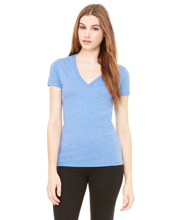 bulk custom shirts bella canvas 8435 custom woman's ladies' triblend deep vneck shirt blue triblend