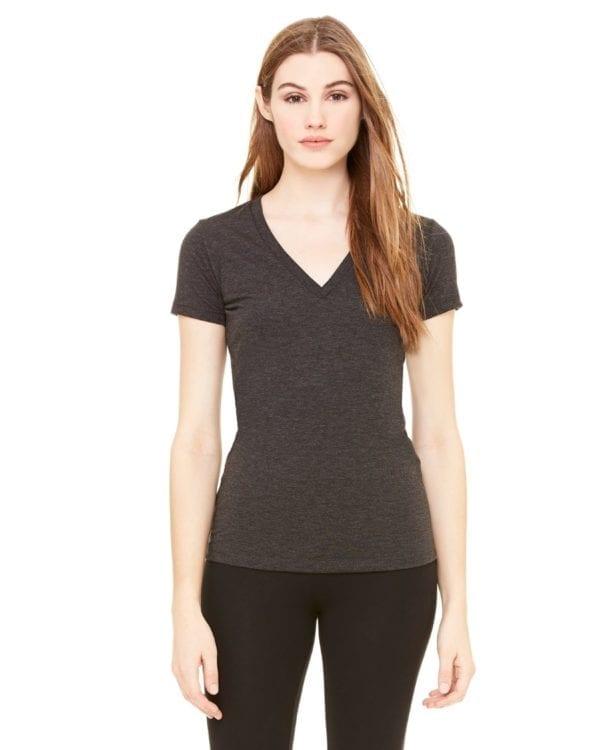 bulk custom shirts bella canvas 8435 custom woman's ladies' triblend deep vneck shirt char-black triblend