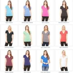 bulk custom shirts bella canvas 8435 custom woman's ladies' triblend deep vneck shirt colors
