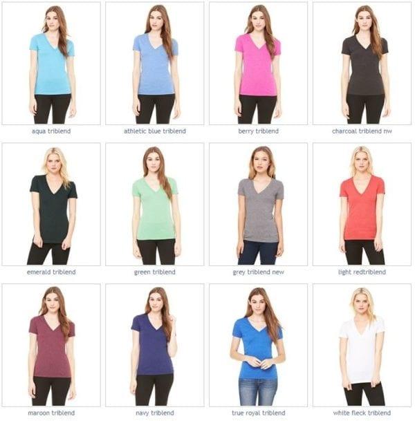 bulk custom shirts bella canvas 8435 custom woman's ladies' triblend deep vneck shirt colors
