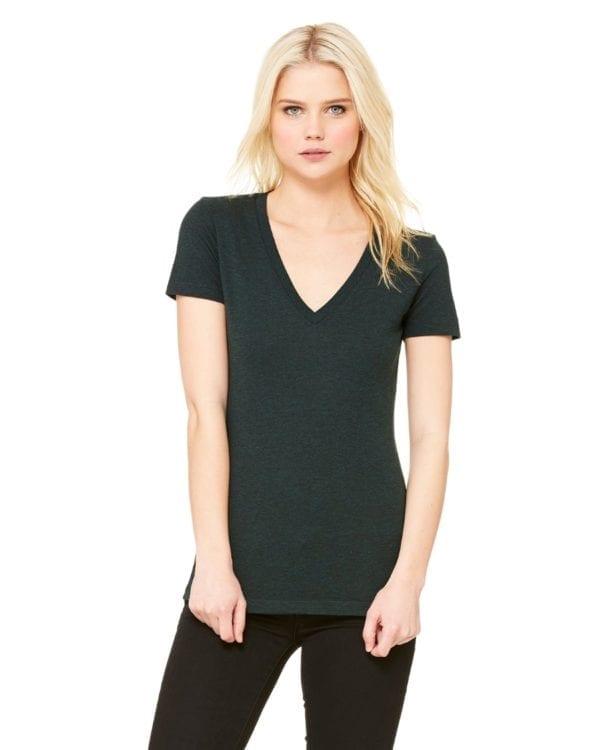 bulk custom shirts bella canvas 8435 custom woman's ladies' triblend deep vneck shirt emerald triblend