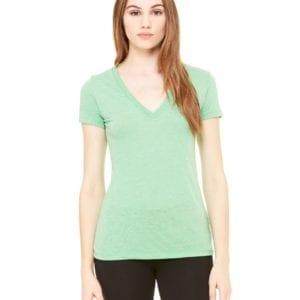 bulk custom shirts bella canvas 8435 custom woman's ladies' triblend deep vneck shirt green triblend