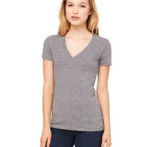 bulk custom shirts bella canvas 8435 custom woman's ladies' triblend deep vneck shirt grey triblend