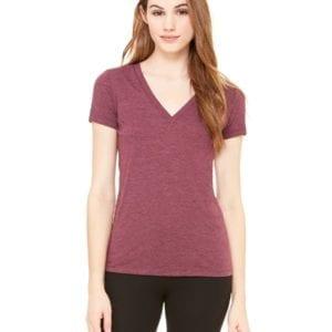 bulk custom shirts bella canvas 8435 custom woman's ladies' triblend deep vneck shirt maroon triblend