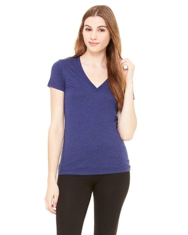 bulk custom shirts bella canvas 8435 custom woman's ladies' triblend deep vneck shirt navy triblend