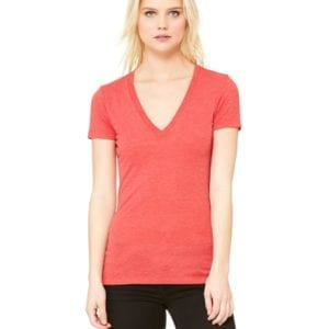 bulk custom shirts bella canvas 8435 custom woman's ladies' triblend deep vneck shirt red triblend