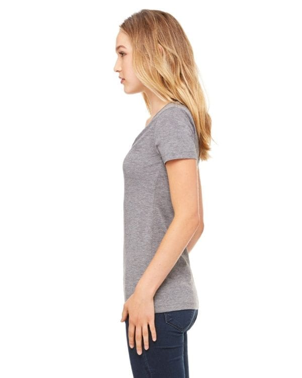 bulk custom shirts bella canvas 8435 custom woman's ladies' triblend deep vneck shirt side