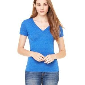 bulk custom shirts bella canvas 8435 custom woman's ladies' triblend deep vneck shirt true royal triblend