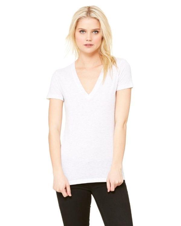 bulk custom shirts bella canvas 8435 custom woman's ladies' triblend deep vneck shirt white fleck triblend