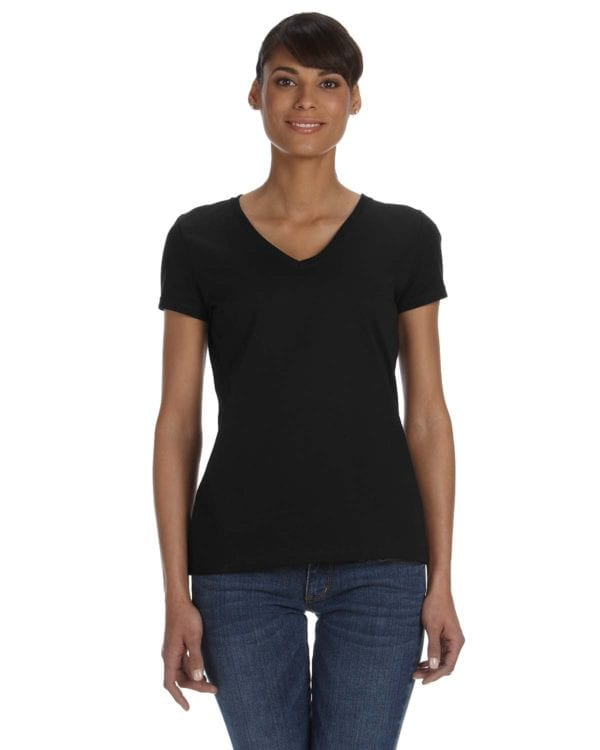 tom shirts fruit of the loom l39vr custom vneck ladies HD Cotton black