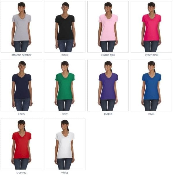 bulk custom shirts fruit of the loom l39vr custom vneck ladies HD Cotton colors