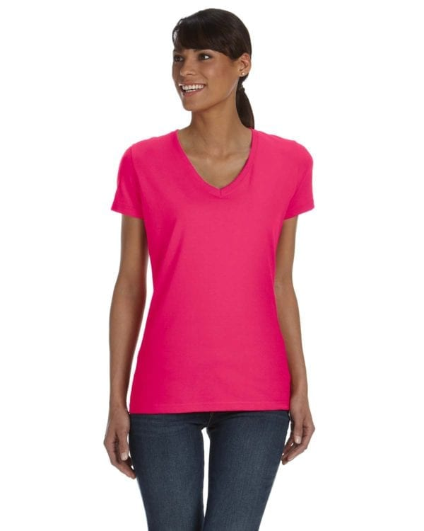 tom shirts fruit of the loom l39vr custom vneck ladies HD Cotton cyber pink