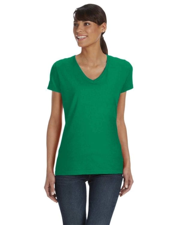 tom shirts fruit of the loom l39vr custom vneck ladies HD Cotton kelly green