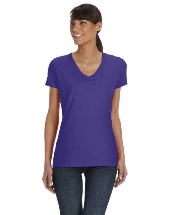 tom shirts fruit of the loom l39vr custom vneck ladies HD Cotton purple