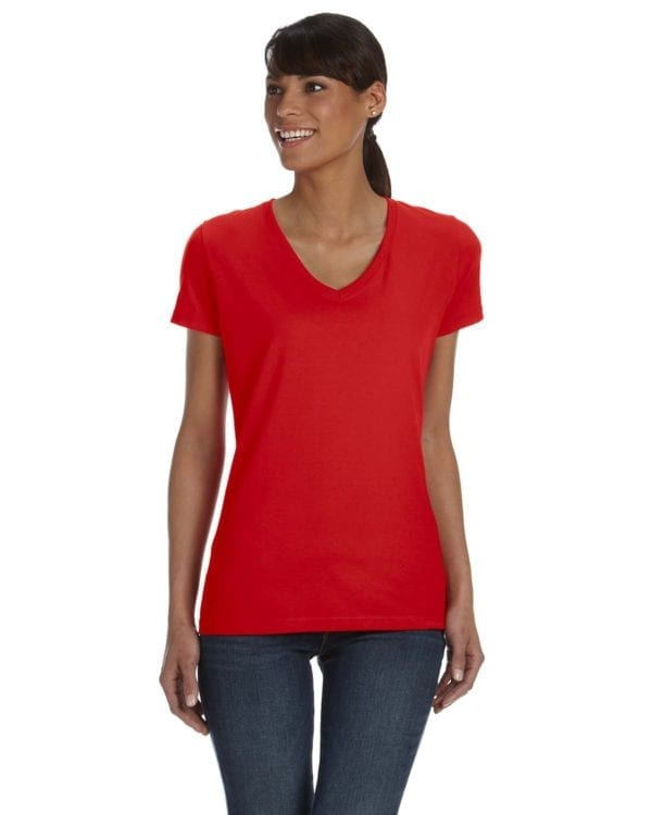 tom shirts fruit of the loom l39vr custom vneck ladies HD Cotton true red