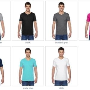 bulk custom shirts fruit of the loom sfvr custom softspun cotton v-neck tshirt colors