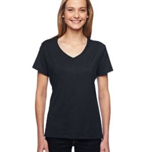 bulk custom shirts hanes 42v0 ladies xtemp custom performance vneck black
