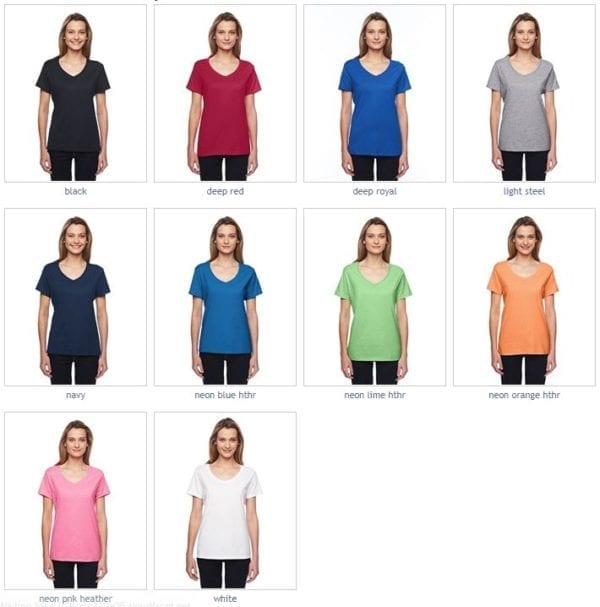 bulk custom shirts hanes 42v0 ladies xtemp custom performance vneck colors