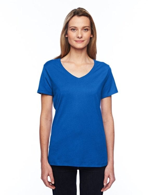 bulk custom shirts hanes 42v0 ladies xtemp custom performance vneck deep royal