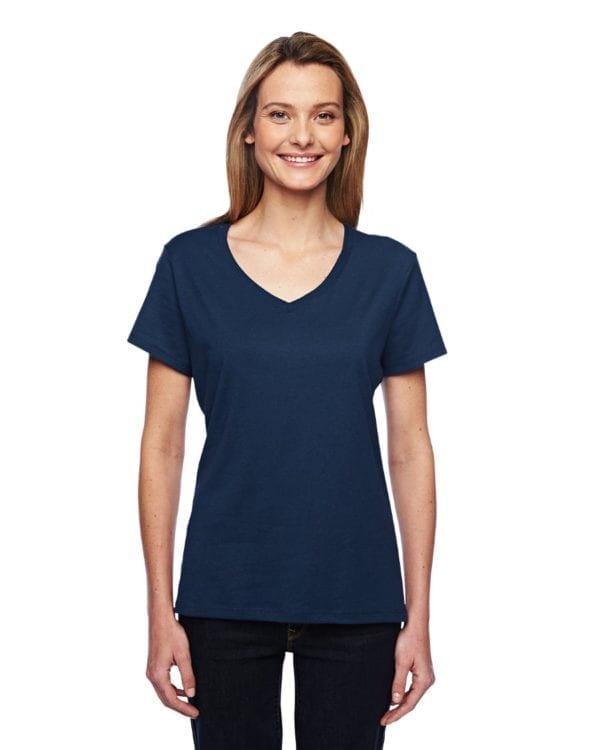 bulk custom shirts hanes 42v0 ladies xtemp custom performance vneck navy