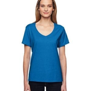 bulk custom shirts hanes 42v0 ladies xtemp custom performance vneck neon blue heather