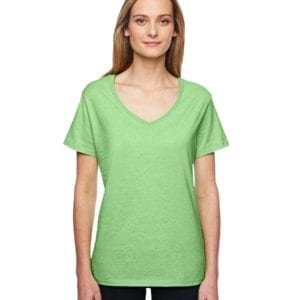 bulk custom shirts hanes 42v0 ladies xtemp custom performance vneck neon lime heather
