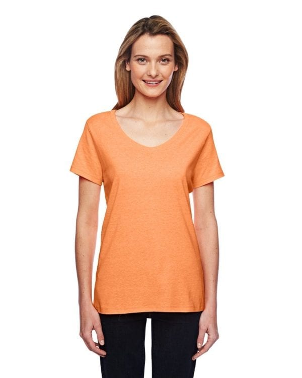 bulk custom shirts hanes 42v0 ladies xtemp custom performance vneck neon orange heather